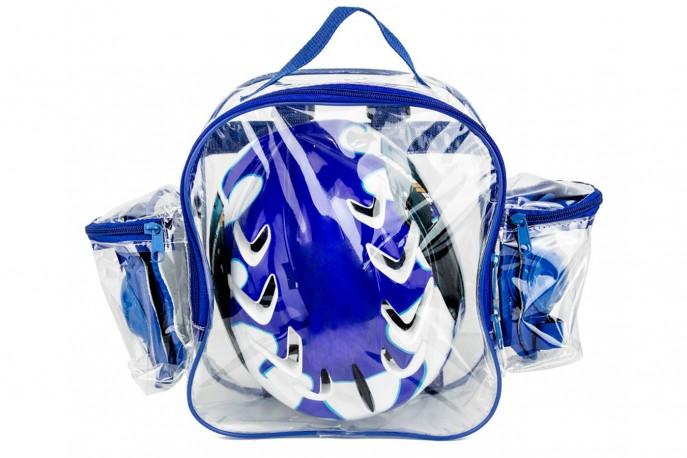 Capacete Ciclista Infantil Azul + Kit com Joelheira e Cotoveleira - Elleven