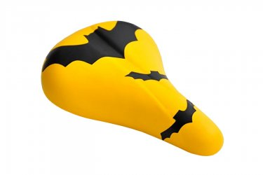 Selim infantil amarelo com grafismo preto morcegos Kalf
