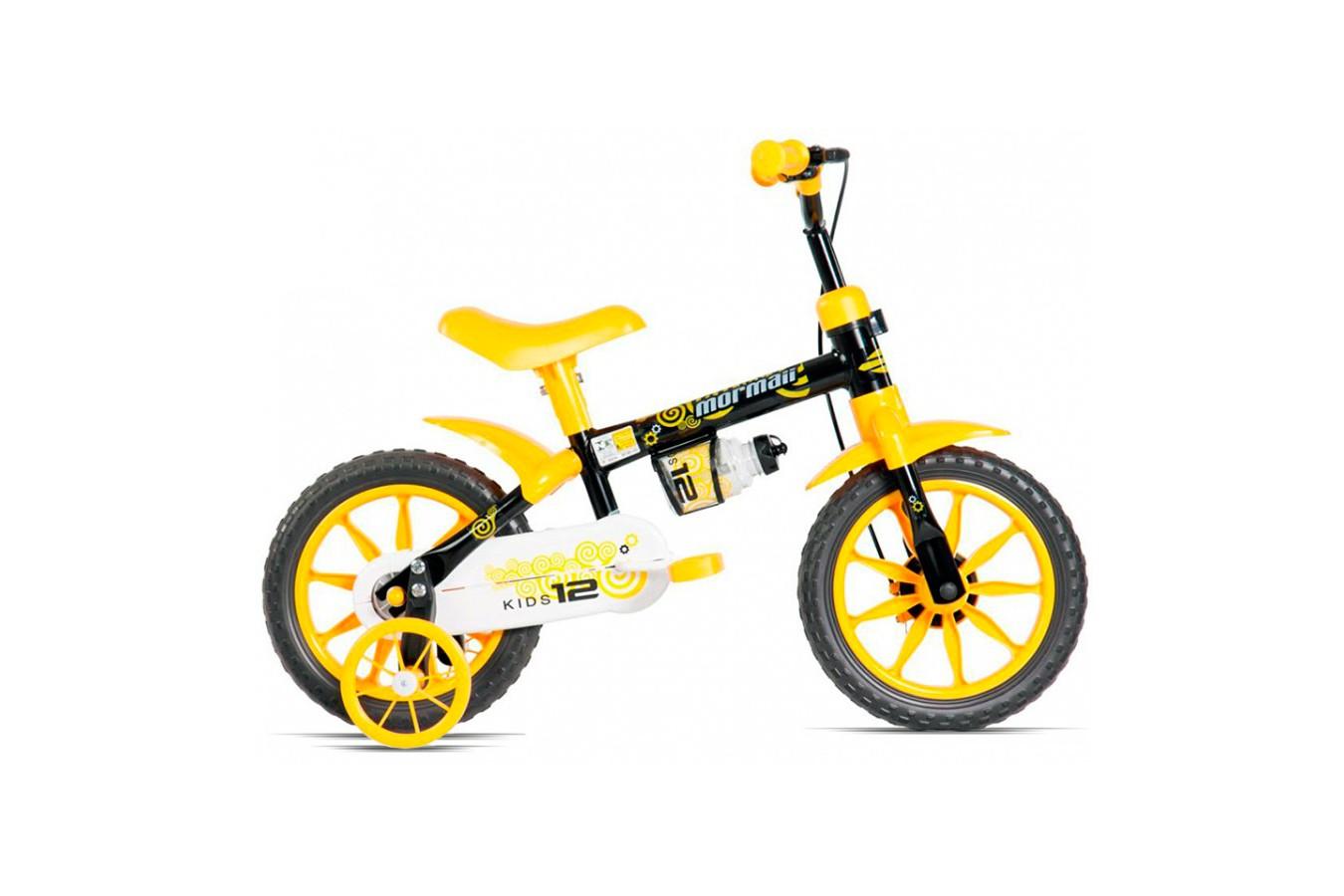 Bicicleta 12 Kids - Mormaii Cor Preto Amarelo 7ea3cb5493