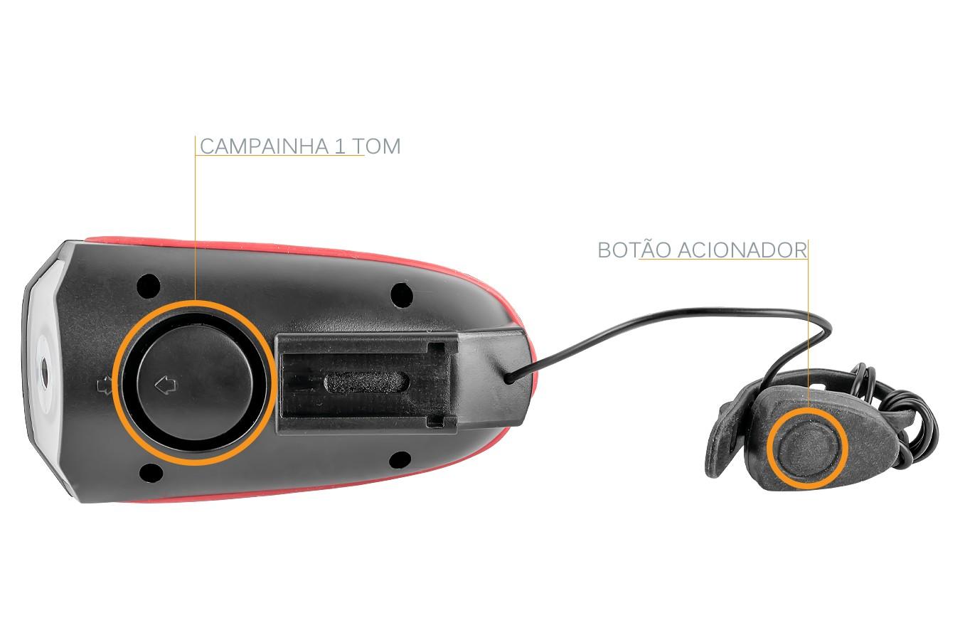 Farol Bateria Recarregável Com Buzina USB - LL