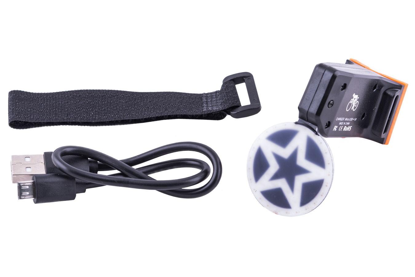 Vista light traseiro recarregável USB Estrela - LL