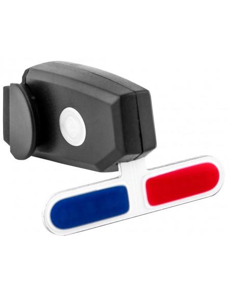 Vista light traseiro recarregável USB Giroflex Luz Azul e vermelha