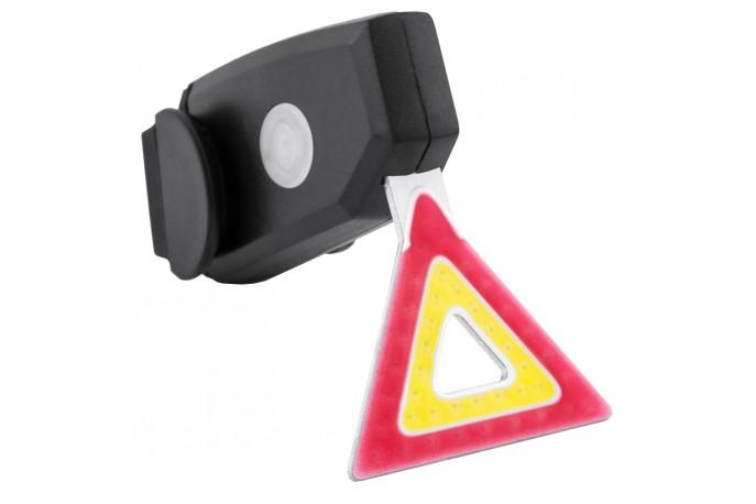 Vista light traseiro Recarregável USB Triângulo Luz amarela e vermelha