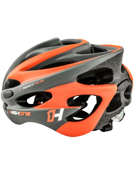 Capacete de ciclista laranja com LED Volcano 19 High One
