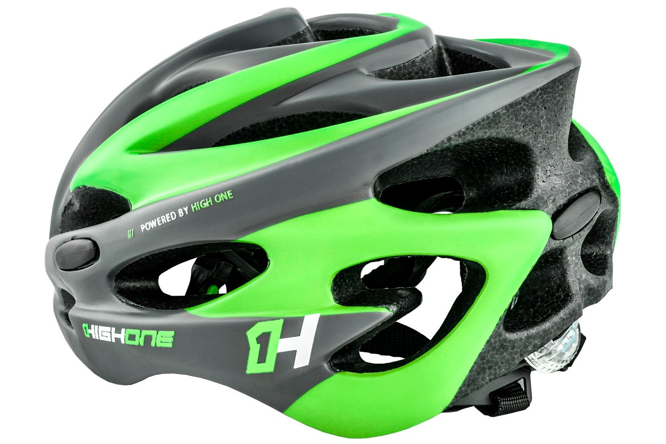 Capacete de ciclista verde com LED Volcano 19 High One