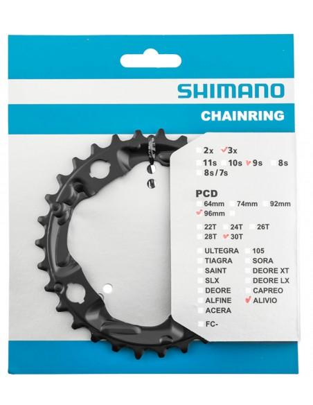 Engrenagem central Alivio 30 dentes M4000 BCD 96 mm 3 x 9v - Shimano