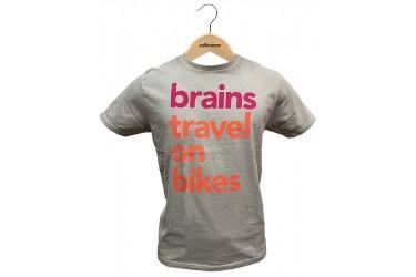Camiseta Casual Brains Travel on Bikes Cinza Claro - Elleven