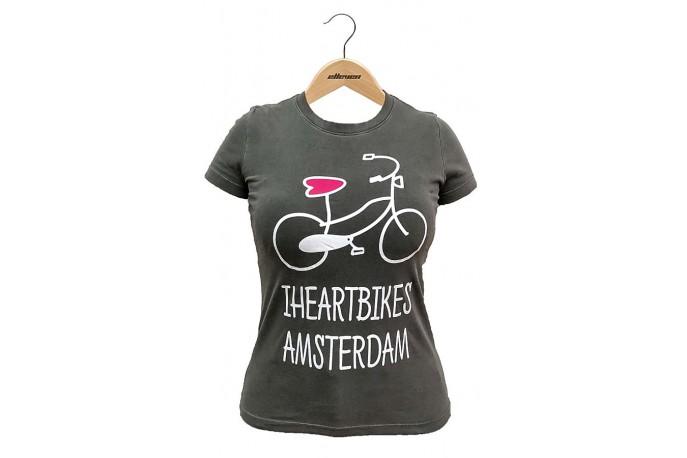 "Camiseta Casual Feminina ""I Heart Bikes Amsterdam"" Cinza Escuro - Elleven"