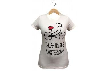 """Camiseta Casual Feminina """"I Heart Bikes Amsterdam"""" Bege - Elleven"""