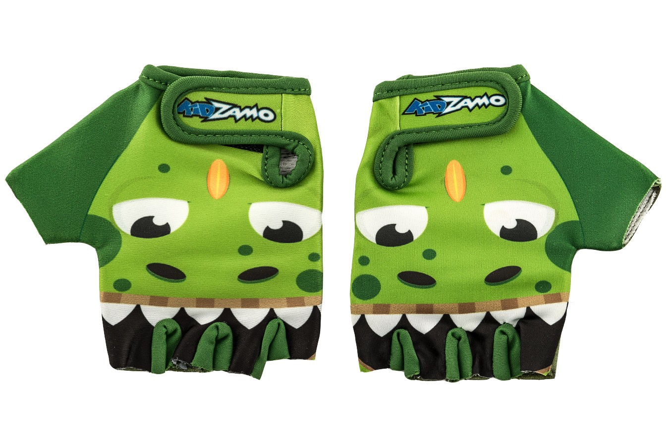 Luva Ciclista Infantil KZ-025 Aberta Dino Verde - Kidzamo
