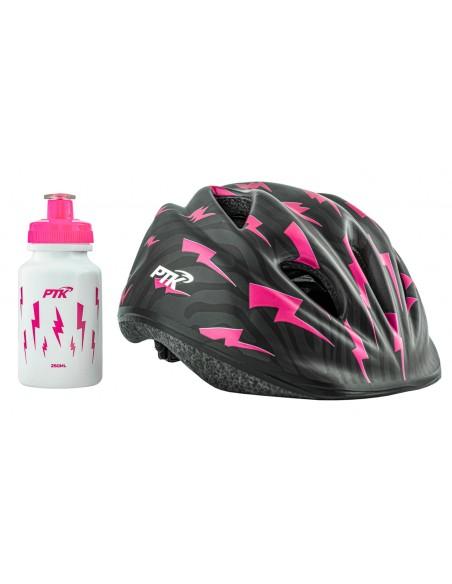 Capacete Ciclista Infantil com regulagem + Squeeze 250ml modelo Raio Rosa - PTK