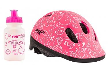 Capacete Ciclista Infantil com regulagem + Squeeze 250ml modelo Sky Rosa - PTK
