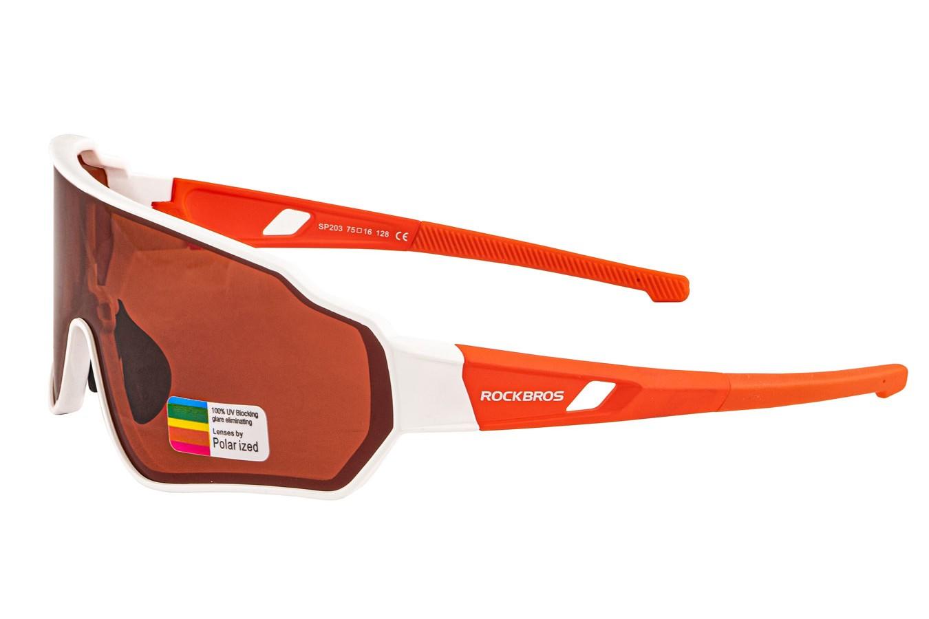 Óculos para ciclistas com lente polarizada Branco/Vermelho - Rockbros