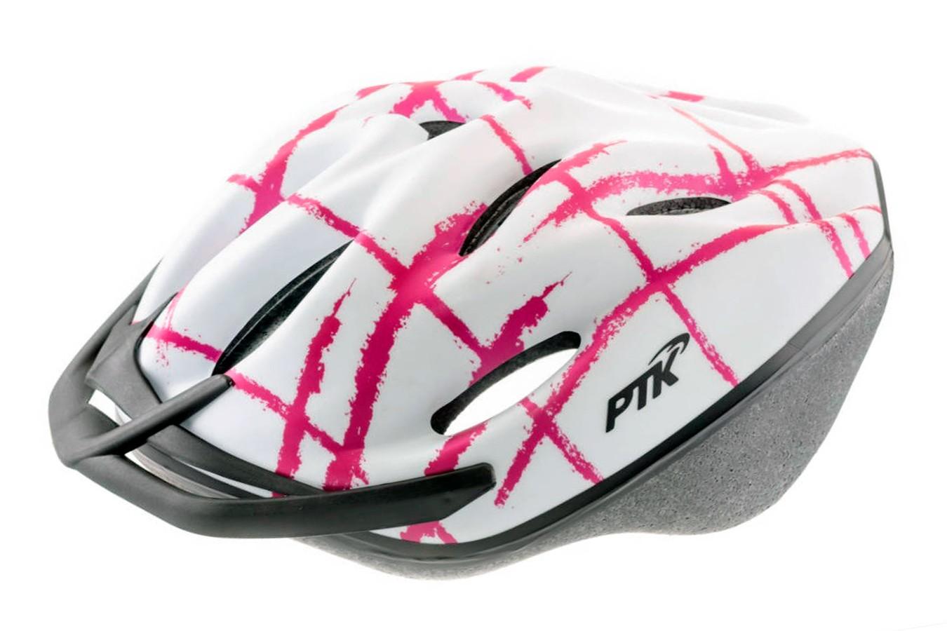 Capacete Ciclista Podium Branco com Rosa com Regulagem - PTK